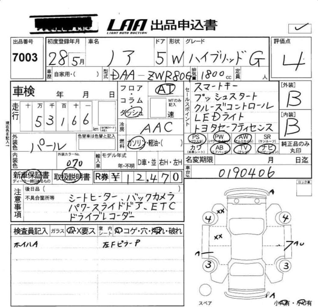 аукционный лист описание состояние автомобиля с аукциона